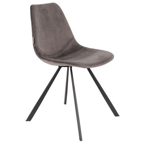 Krzesło FRANKY aksamitne, szare - Dutchbone
