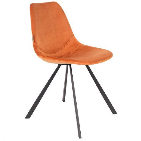 Krzesło FRANKY aksamitne, pomarańczowe