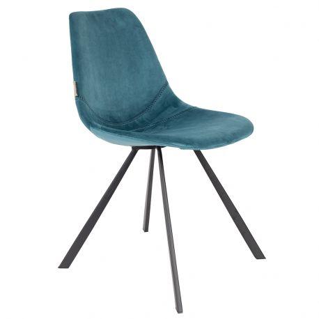 Krzesło FRANKY aksamitne, niebieskie - Dutchbone
