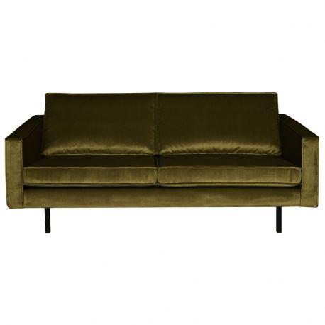Sofa aksamitna RODEO 2 osobowa, oliwkowa - Be Pure