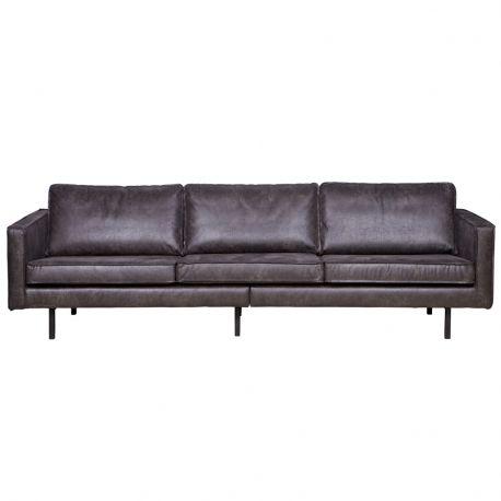 Sofa skórzana RODEO 3 osobowa, czarna - Be Pure
