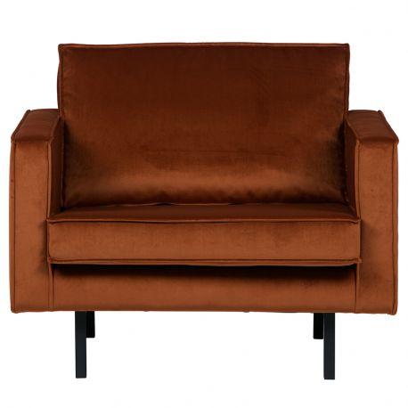 Fotel aksamitny RODEO, rdzawy - Be Pure