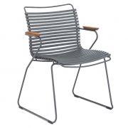 Krzesło CLICK z podłokietnikami, ciemnoszare 70