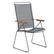 Krzesło CLICK wysokie, regulowane, ciemnoszare 70