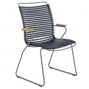 Krzesło CLICK wysokie z podłokietnikami,, ciemnoniebieskie 91