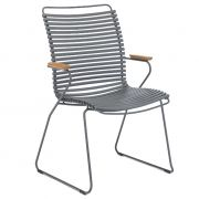 Krzesło CLICK wysokie z podłokietnikami, ciemnoszare 70