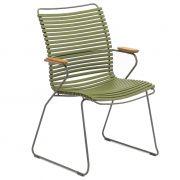 Krzesło CLICK wysokie z podłokietnikami, oliwkowe 71
