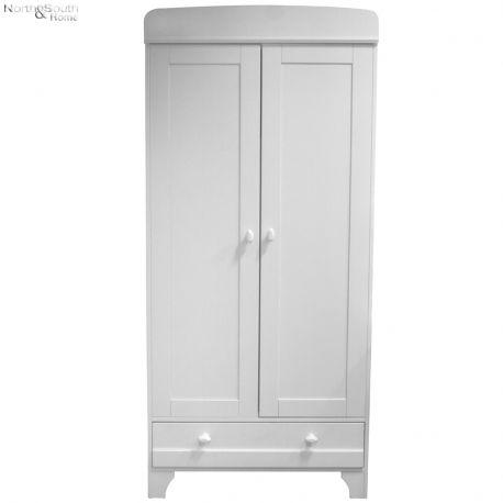Szafa EMMA, dwudrzwiowa z szufladą,  biała - Woood