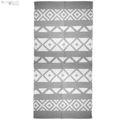 Dywanik kremowy z szarym wzorem II, 70x140 cm
