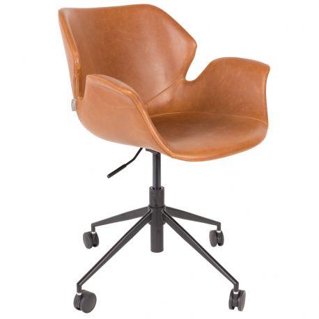 Krzesło biurowe NIKKI brązowe - Zuiver