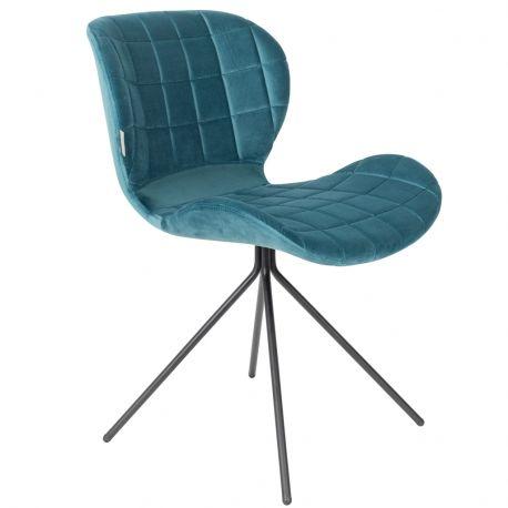 Krzesło OMG, aksamitne niebieskie - Zuiver