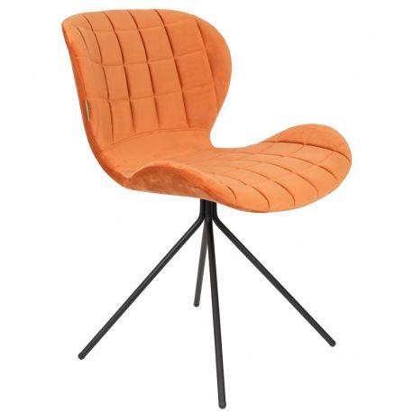 Krzesło OMG, aksamitne pomarańczowe - Zuiver