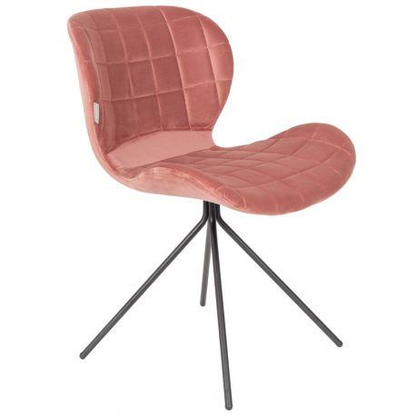 Krzesło OMG, aksamitne różowe - Zuiver
