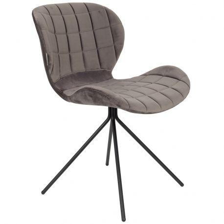 Krzesło OMG, aksamitne szare - Zuiver