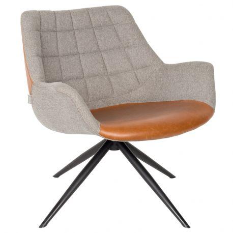 Fotel LOUNGE DOULTON vintage, szaro-brązowy - Zuiver