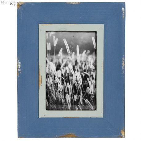 Ramka na zdjęcia postarzana niebieska wzór III