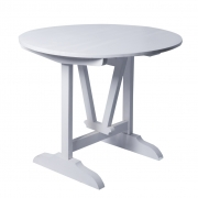 Stół okrągły, drewniany, w kolorze białym.