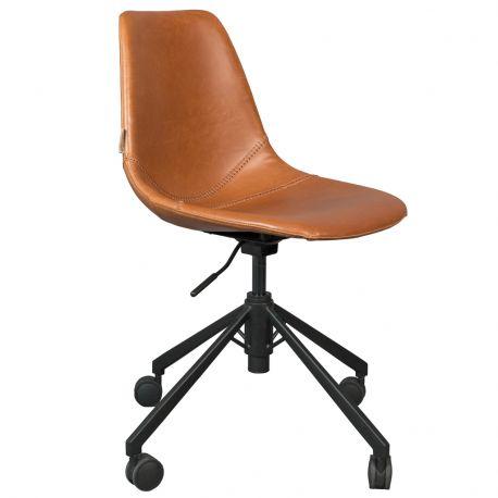 Krzesło biurowe FRANKY, skórzane  czarne - Dutchbone