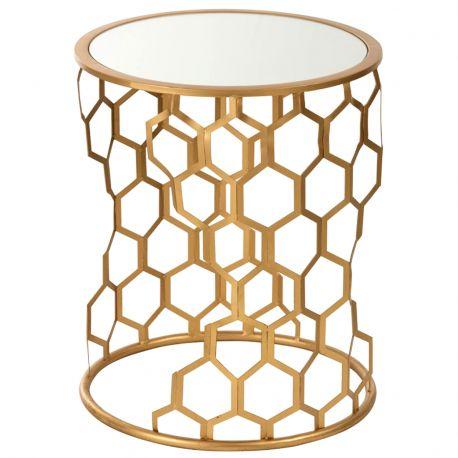Stoliki złoty ze lustrzanym blatem - J-Line