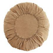 Poduszka lniana, okrągła, jasnobrązowa