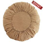 Poduszka lniana, okrągła, jasnobrązowa DEFEKT