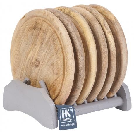Talerze drewniane ze stojakiem.