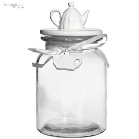Pojemnik szklany z porcelanową pokrywką DZBANEK NA KAWĘ