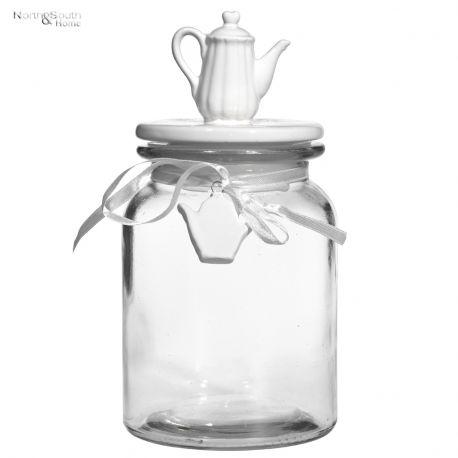 Pojemnik szklany z porcelanową pokrywką DZBANEK NA HERBATĘ