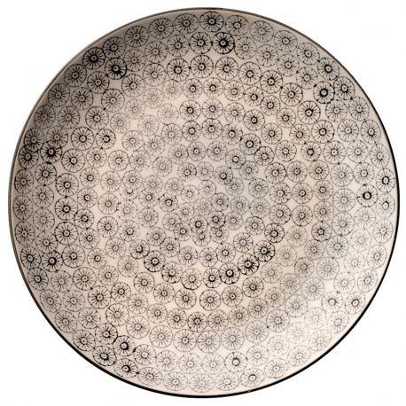 Talerz okrągły seria ISABELLA 25 cm, szary wzór