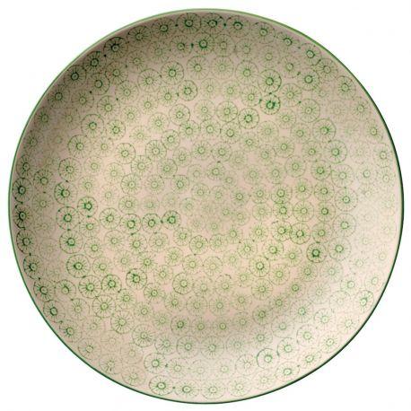Talerz okrągły seria ISABELLA 25 cm, zielony wzór