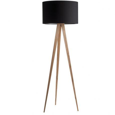 Lampa podłogowa TRIPOD WOOD czarna drewniana - Zuiver