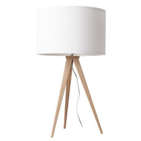 Lampa stołowa TRIPOD WOOD, biała drewniana