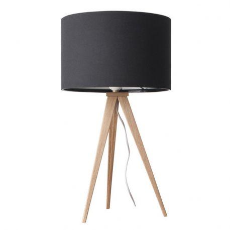 Lampa stołowa TRIPOD WOOD, czarna drewniana - Zuiver