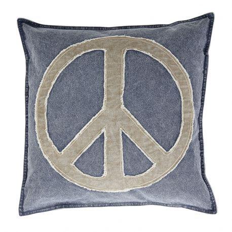 Poduszka płócienna ze znakiem, niebiesko- beżowa, 50x 50 cm