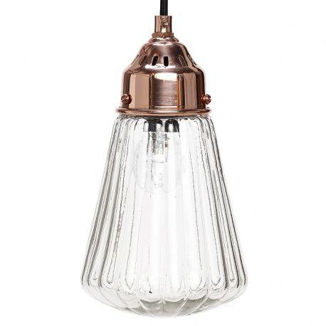 Lampa ze szklanym kloszem i miedzianą oprawą