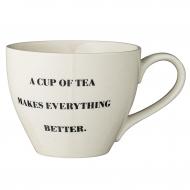 Kubek ceramiczny z serii CATHRINE z napisem A CUP OF TEA MAKES EVERYTHING BETTER