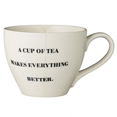 Kubek ceramiczny z serii CATHRINE z napisem A CUP OF TEA MAKES EVERYTHING BETTER - Bloomingville