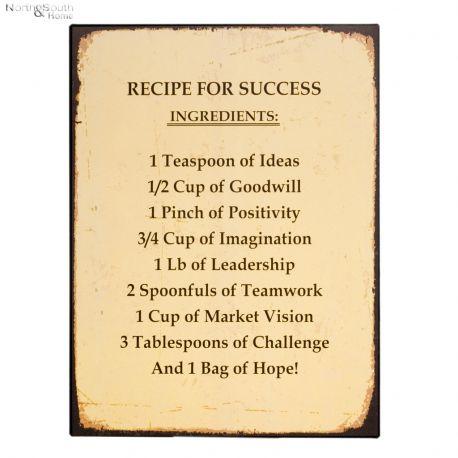 Tabliczka metalowa RECIPE FOR SUCCESS