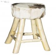 Taboret ze skórzanym siedziskiem