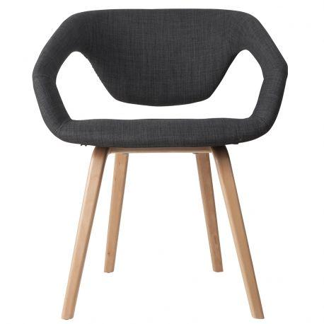 Krzesło FLEX BACK, ciemno szary/ jasne nogi - Zuiver