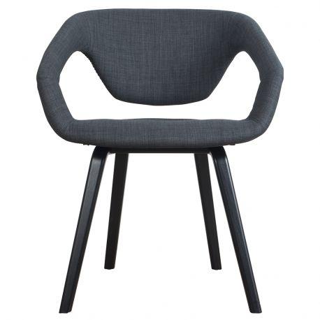Krzesło FLEX BACK, ciemno szary/ czarne nogi - Zuiver