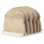 Talerze drewniane ze stojakiem, 4 szt kpl.