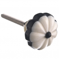 Gałka meblowa kremowo- czarna
