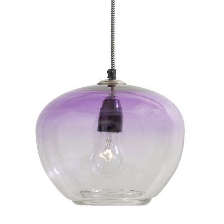 Lampa wisząca szklana, fioletowa - Nordal
