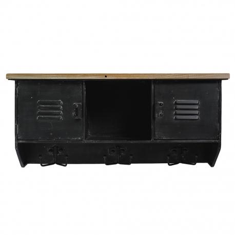 Półka metalowa z 6 wieszakami, czarna
