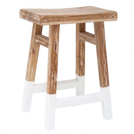 Stołek drewniany rustykalny, biały - HK living