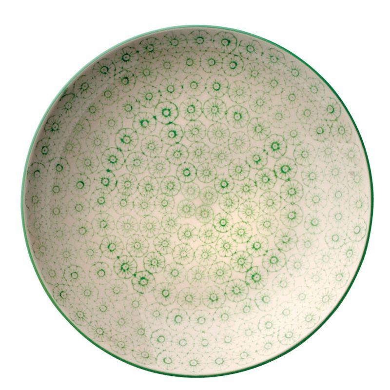 Pięknie zdobiony Talerzyk okrągły seria ISABELLA , zielony wzór - BLOOMINGVILLE