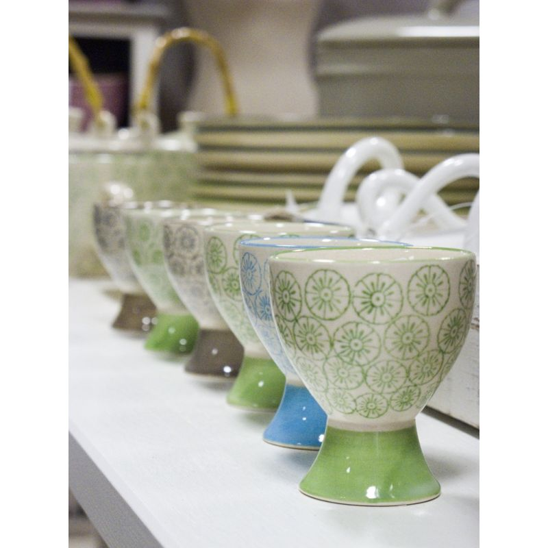 Dekoracyjna Podstawka na jajko seria ISABELLA, zielona kolekcja marki BLOOMINGVILLE