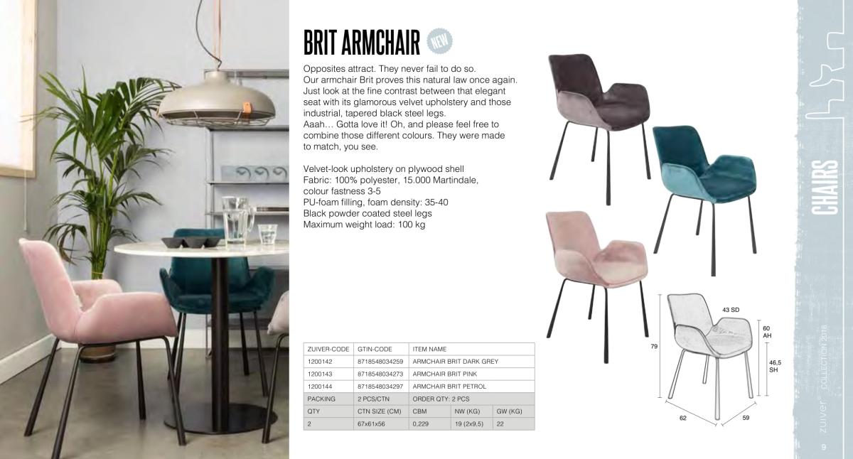krzesła zuiver 2018 - brit armchair