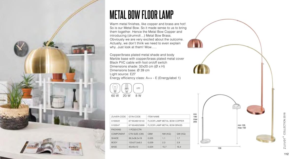 metal bow floor lamp - lampy zuiver - kolekcja 2018
